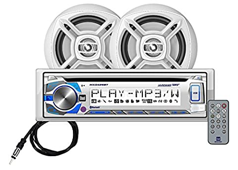 Dual Electronics MCP426BT Multimedia Single DIN Marine Stereo with Built-In Bluetooth, CD & USB Players, Two 6.5 inch Dual Cone Marine Speakers & Long Range Marine - Marine Electronics