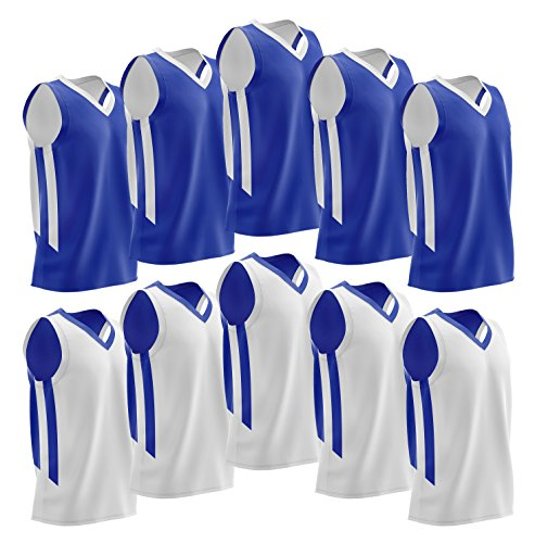 Liberty Imports 10 Pack - Reversible Men's Mesh Performance Athletic Basketball Jerseys - Adult Team Sports Bulk (Blue/White) Adult Basketball Jersey Shirt