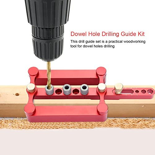 Bicaquu Self Centering Dowelling Jig, 6/8/10mm Wood Dowel Hole Drilling Guide Tool for DIY Woodworking