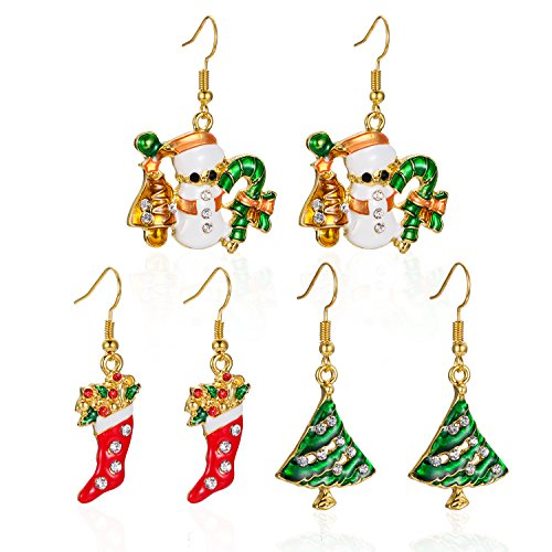 iWenSheng Rhinestone Christmas Stocking Earrings