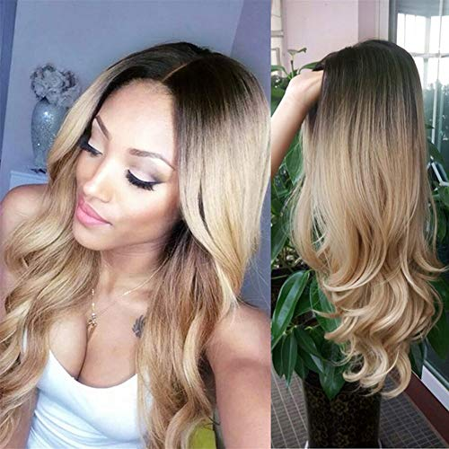 HANNE Ombre Blonde Wigs Long Wavy None Lace Wig Dark Brown to Blonde Synthetic Hair Wigs for Women (4/Blonde) -