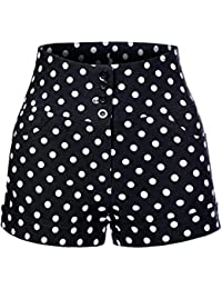 Womens High Waisted Front Button Retro Vintage Pin up...