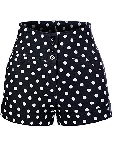 Stretchy High Waisted Polka Dot Print Sailor Pin Up Shorts with Pockets ()