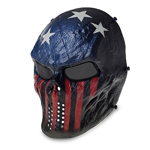 TOMOUNT Skull Face Protect Tactical Mask for Airsoft Paintball CS War Game Captain