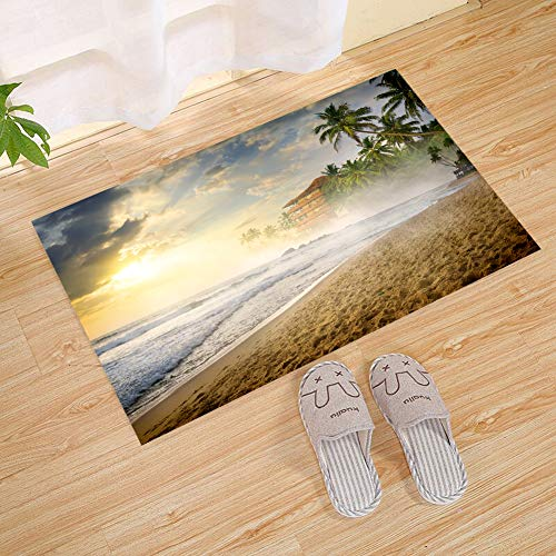 JANNINSE Green Coconut Tree Wooden House Hotel Beach Footprints Sunset Clouds Surf Door Mat Rubber Door Mat Entrance Carpet Indoor/Outdoor Door Shoe Scraper Entrance Channel by JANNINSE