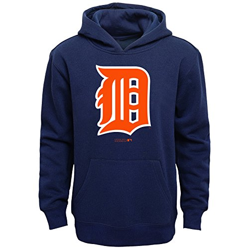 Detroit Tigers Hoodie - OuterStuff MLB Detroit Tigers Boys Primary Logo Fleece Hoodie, Athletic Navy, Size 10/12