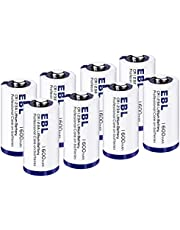 EBL CR123A Batteries 1600mAh 123A 123 High Capacity Lithium Batteries with PTC Protection for Flashlight Camera 3V 8 Pack Non-Rechargeable