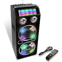 Pyle PSUFM1035A Bluetooth 1000 Watt 2-Way Speaker System with SD Card Reader, FM Radio, 3.5mm AUX Input and Flashing DJ Lights