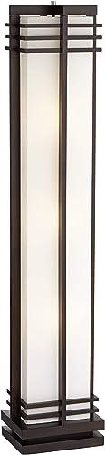 Art Deco Floor Lamp Espresso Wood Beige Linen Column Shade Standing Light