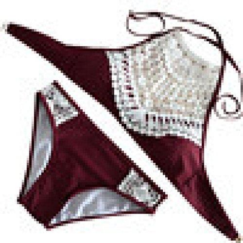 Bookear Boho Vintage Beach Lace Splice Strappy Halter Bikini Swimsuit (Wine, L)