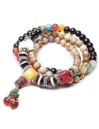 6mm 108 Natural Black Agate White Coral Beads Buddhist Prayer Mala Necklace Bracelet