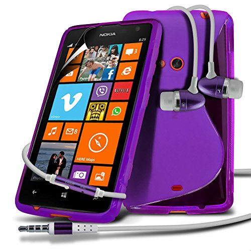 Nokia Lumia 625 Purple S Line Wave Gel Case Skin Cover With LCD Screen Protector Guard, Polishing Cloth & Hands Free Earphone with Built in Microphone Mic & On-Off Button by Fone-Case