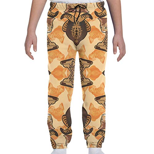 (DHIAJSA Youth 3D Ginger Tabby Kitten with Frog Legs Fabric Joggers Pants Trousers Sport Track Sweatpants Baggy)