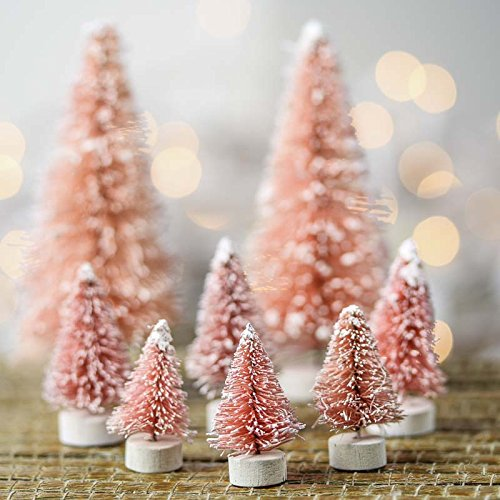 Package of 16 Assorted Size Vintage Pink Frosted Miniature Bottle Brush Trees for Crafting and Displaying