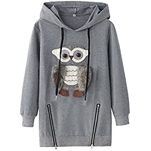 AuroraBaby Big Girls Hoodies Sweatshirts Adorable Fuzzy Owl Pullover Long Sleeve Size 11-12
