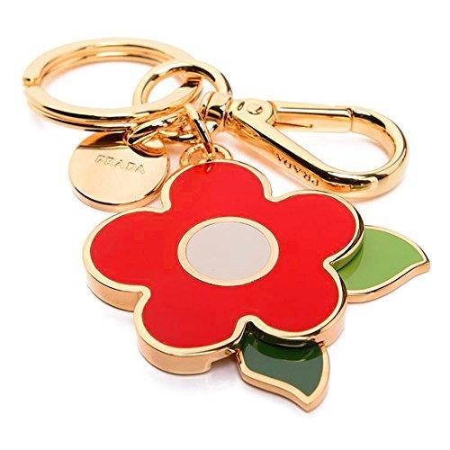 Prada 1PS644 Acciaio Smalto Portachiavi Metallo Metal Flower Handbag Charm Rosso Red