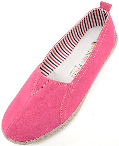 Ladies / Womens Real Leather Suede Slip On Summer / Holiday / Casual Shoes Raspberry myvX3R0y