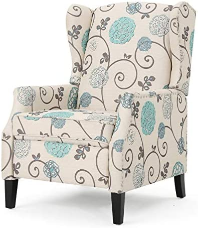Westeros Traditional Wingback Fabric Recliner Chair White Blue Floral
