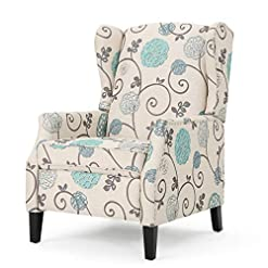 Farmhouse Accent Chairs Westeros Traditional Wingback Fabric Recliner Chair (White & Blue Floral) farmhouse accent chairs