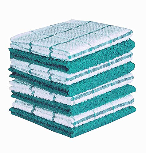 (CASA DECORS Terry Kitchen Dishcloth Set of 8 (12 x 12 Inches), Teal, 100% Cotton, Highly Absorbent, Machine Washable )