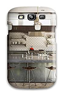 Anne C. Flores's Shop Protective Tpu Case With Fashion Design For Galaxy S3 (cream Colored Brick Kitchen Backsplash) 3704634K87919722