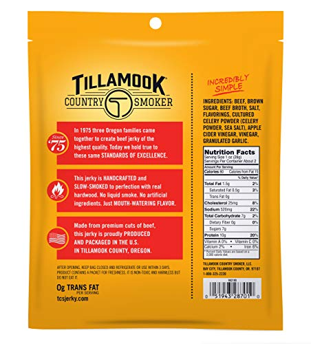 Tillamook All Natural, Real Hardwood Smoked Old Fashioned Beef Jerky, 2.5 Oz