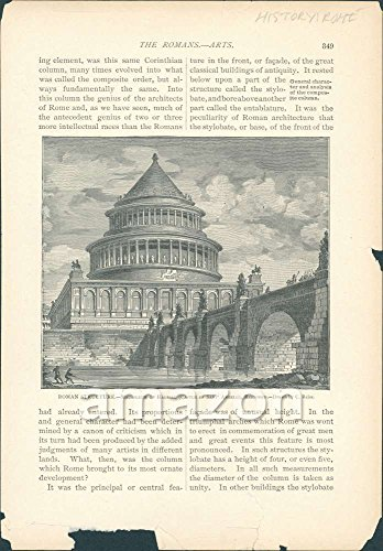 Antique Print Roman Structure- Castle of San Angelo Rome (AJR-185)
