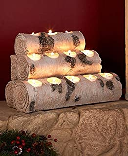 Amazoncom Southern Enterprises Resin Tealight 24 Fireplace Log