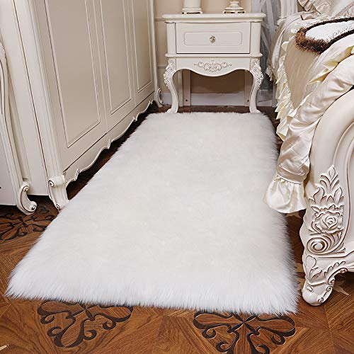 YJ.GWL Modern Fluffy Faux Sheepskin Fur Rug (3' x 5') for Bedroom Living Room Plush Carpet Bedside Area Rugs, Rectangle White