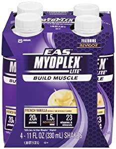 EAS Myoplex Lite Ready-To-Drink Nutrition Shake, French Vanilla, 11 fl. oz. Bottles(Pack of 24)