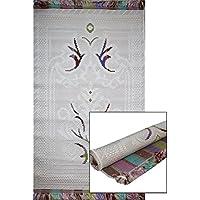 Woven Rolled Hard Islamic Janamaz Sajada Prayer Mat - Embroidered White
