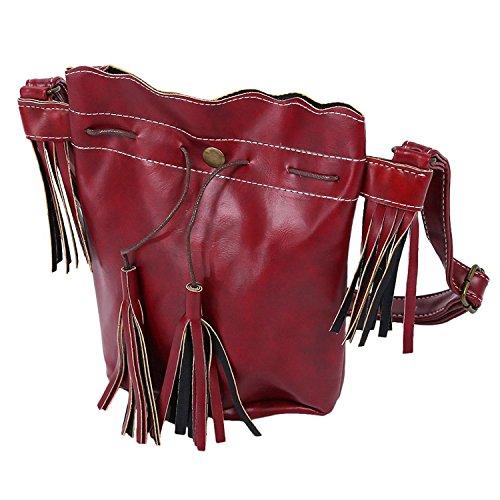 TOOGOO(R) Borsa delle donne sacchetto di spalla della borsa di modo della nappa della borsa della borsa del messaggero delle donne della rappezzatura di cuoio della borsa viola Rosso