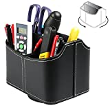 Multiuse Remote Holder Caddy Storage Table Desk Organizer with 5 Compartments Leather Design to Hold TV Remotes Stereo Media Devices Game Console Phones Pen Scissors Office Supplies - Black