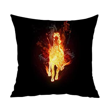 Amazon.com: Estivation Pillowcases Queen Size fire Horse W15 ...
