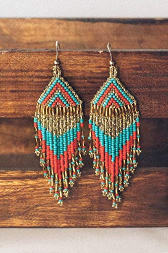 Native Beaded Earrings - Beaded Fringe Dangle Earrings for Women | Turquoise Red Gold Feather Design | Fair Trade and Artisan Made in Guatemala by the Madres Collective | Jewelry With A Purpose