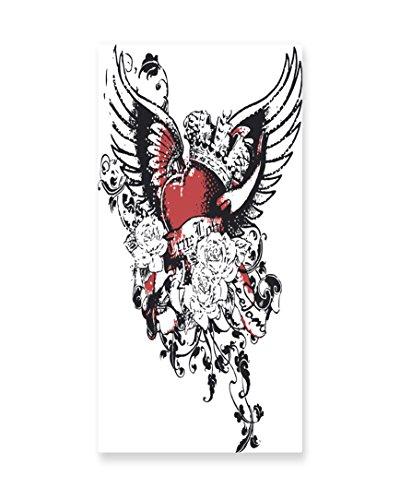 Lunarable Modern Wall Art, Tattoo Style Heart Crown with Win