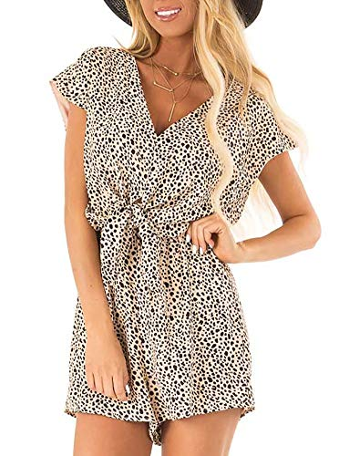 (Womens Summer Casual Cap Sleeve Loose V Neck Knot Tie Front Playsuits Short Jumpsuit Beach Rompers Peach Cheetah Apricot Leopard Printed X-Large)