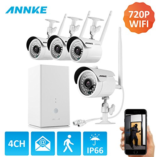 ANNKE 960P 4CH HDMI NVR- 4 HD WiFi Wireless Weatherproof Security Cameras System with Night Vision, Hassle Free Installation No Video Cable Needed, NO HDD
