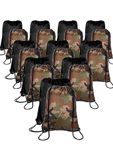(20 Pieces Drawstring Backpack Sport Bags Cinch Tote Bags for Traveling and Storage (Black, Camouflage, Size 1))