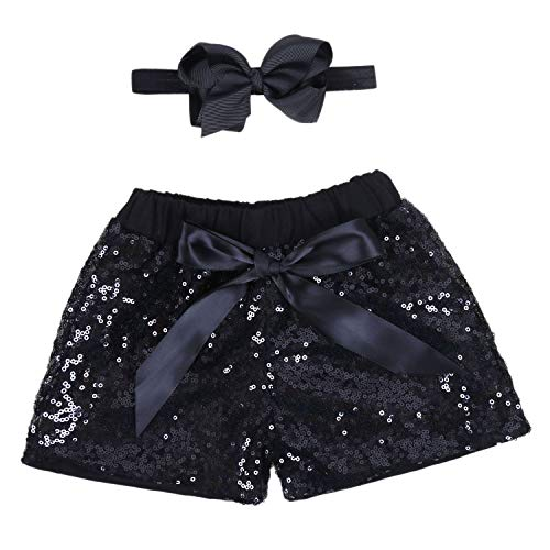 Baby Girls Shorts Kids Sparkle Toddler Sequin Shorts Glitter on Both Sides Birthday Outfits Headband Black 2T