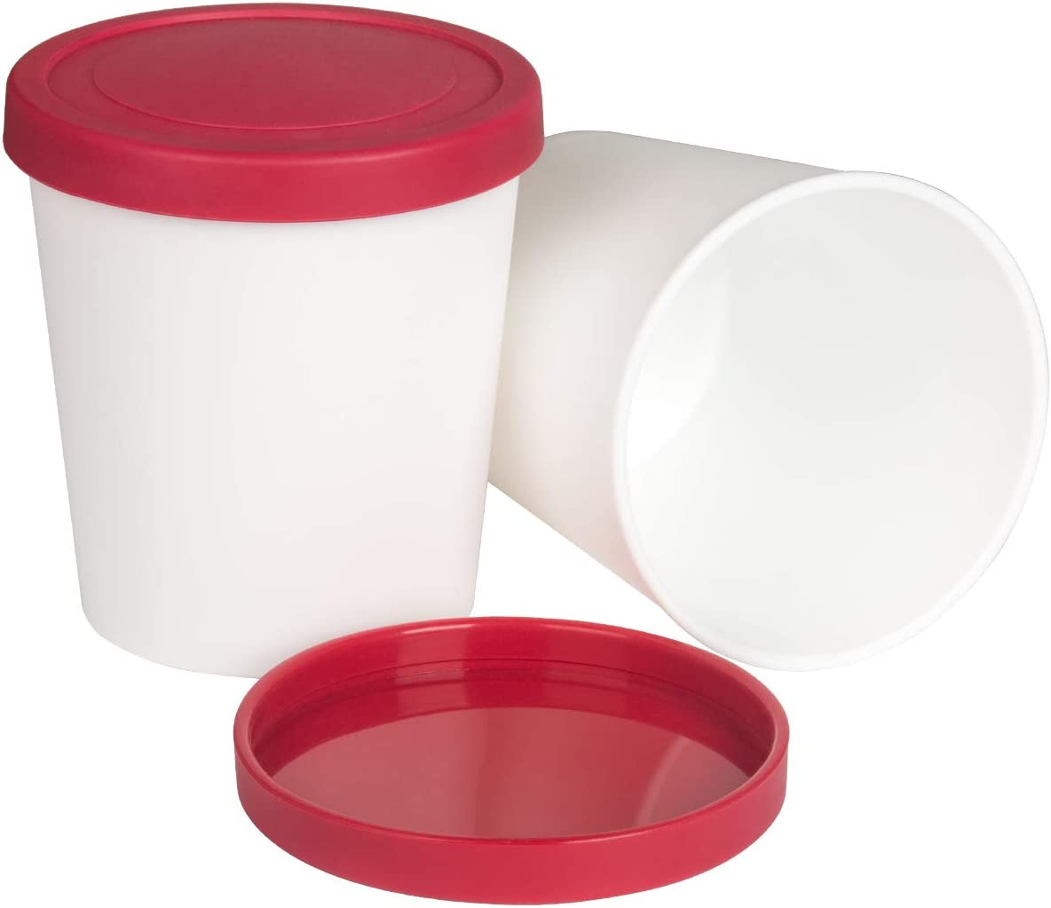 Ice Cream Containers, 1 Quart Freezer Containers Reusable BPA Free Ice Cream Storage Tubs with Lids for Homemade IceCream Frozen Yogurt Sorbet 2PCS RED