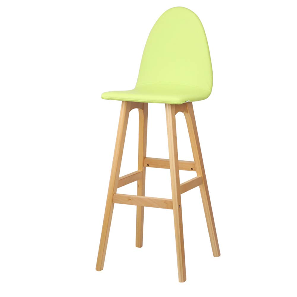 Green 42x41x114cm LIQICAI Bar Stool Faux Leather Wooden High Legs Saddle Stool with Natural Finished Frame, 65 74cm Seat Height, 6 colors Optional (color   Green, Size   42x41x114cm)