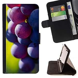 BullDog Case - FOR/Samsung Galaxy A3 / - / Fruit Macro Dark Grape /- Monedero de cuero de la PU Llevar cubierta de la caja con el ID Credit Card Slots Flip funda de cuer