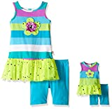 Dollie & Me Girls' Flower Sleeveless Drop Waist Dress with Bike Short Set