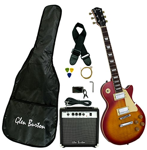 Electric Guitar Package (Glen Burton GE320BCO-CBS Classic LP-Style Electric Guitar, Cherry Burst)