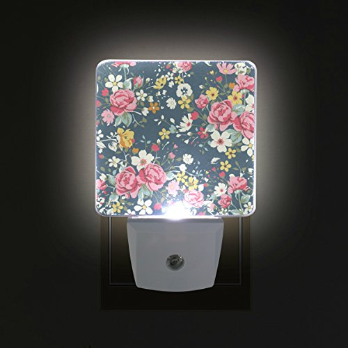 Floral Night Light - ALAZA LED Night Light with Smart Dusk to Dawn Sensor,Floral Roses Illustration Plug in Night Light Great for Bedroom Bathroom Hallway Stairways Or Any Dark Room