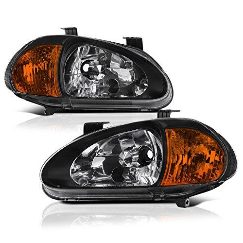 VIPMOTOZ Matte Black Headlight & Amber Turn Signal Corner Lamp Assembly For 1993-1997 Honda Del Sol, Driver and Passenger Side