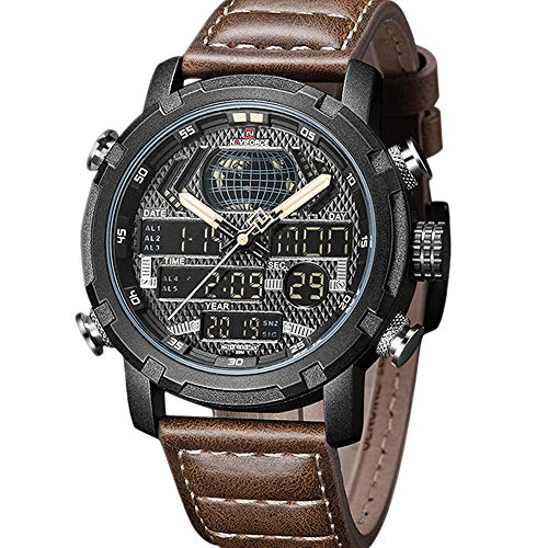 Mens Digital Analog Watches Waterproof Sport Leather Band Watch with Alarm Dual Dispaly Date Wristwatch for Man Gift