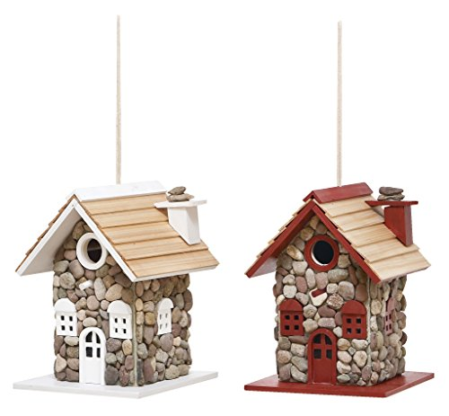UPC 758647203086, Deco 79 20308 2-Piece Wood Bird House Set, 8 by 10-Inch, Assorted