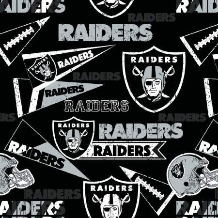 Cotton Oakland Raiders Fabric - Oakland Raiders NFL Football Words in Black 58